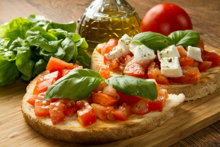 canape: italian bruschetta with fresh tomatoes