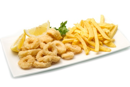 calamar: un plato con frito mixto