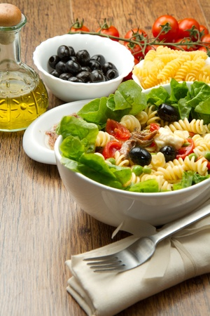 side salad: a dish with pasta salad
