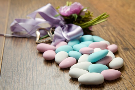 pastel colored jordan almonds photo