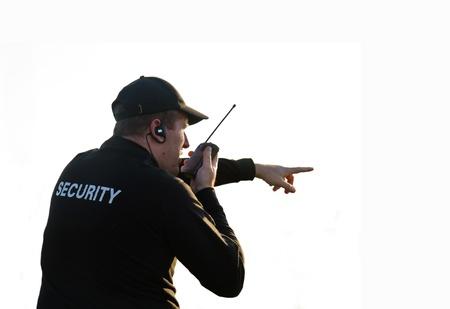 guarda de seguridad: parte trasera de un guardia de seguridad aislado en blanco