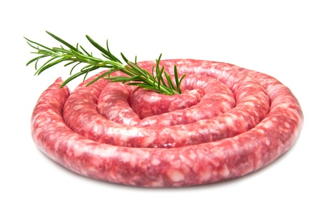 fresh raw sausage with rosemary on white background photo