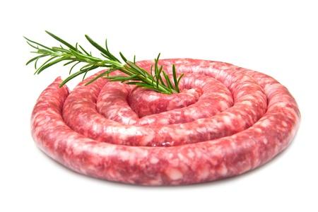 fresh raw sausage with rosemary on white background Stock Photo - 13825953