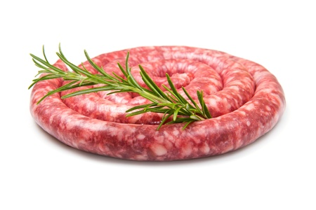 fresh raw sausage with rosemary on white background photo