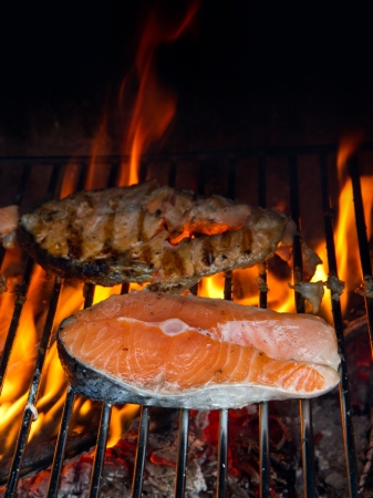 staycation: a fresh steak of salmon on grilled with flames