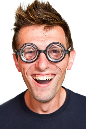 funny glasses: Funny nerd, isolated on white background