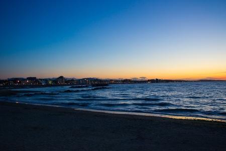emilia romagna: Night shot of the coast of Emilia Romagna, Italy