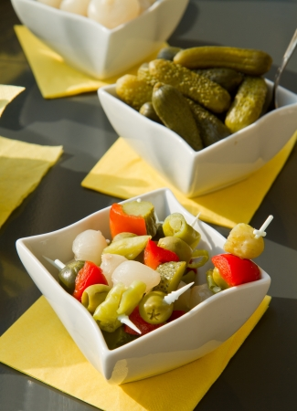 italian appetizer with olives and pickles