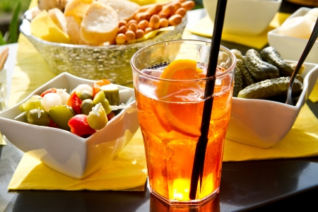 Long-drink with orange slices  photo