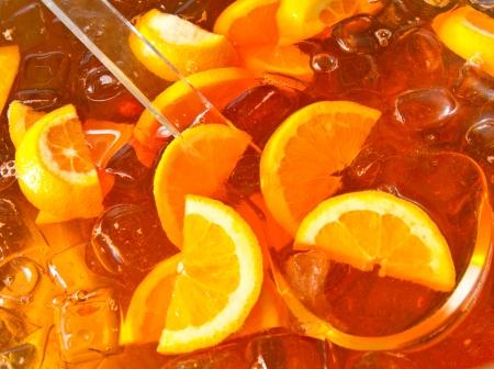 longdrink: Long-drink with orange slices Stock Photo