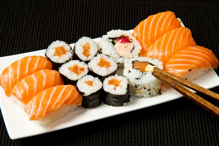 california roll: Sushi Set over black  Stock Photo