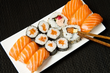 Sushi Set over black photo