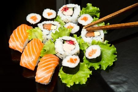 Sushi Set over black Stock Photo - 14333829