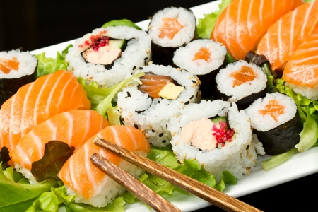food collage: fresh sushi traditional japanese food
