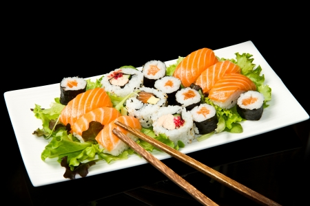 roll bar: Sushi Set over black  Stock Photo