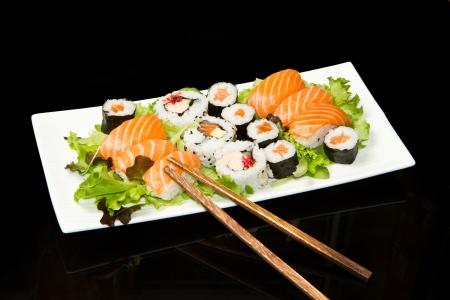 nigiri: Sushi Set over black  Stock Photo