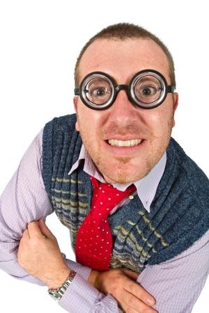 hilarious: Funny nerd, isolated on white background
