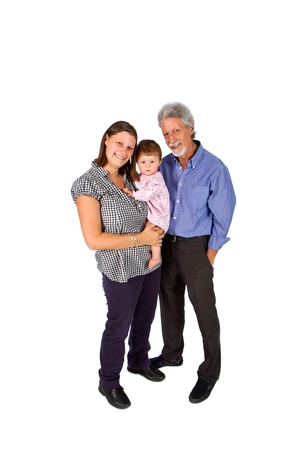 Portrait of a happy family with grandfather mother  and baby isolated against white background photo
