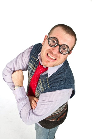 Funny nerd, isolated on white background photo