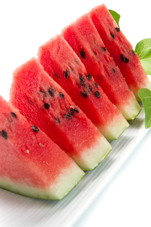 water melon: slice of fresh red watermelon Stock Photo