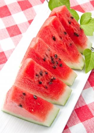 slice of fresh red watermelon photo