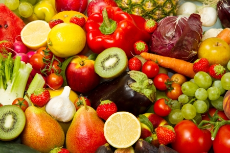 fresh fruits: Group of different fruit and vegetables