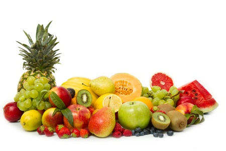 Group of different fruits on white background photo