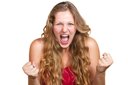 disappointed: angry woman is screaming out  Stock Photo