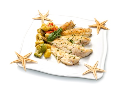 potato cod: Tasty healthy fish fillet with vegetables