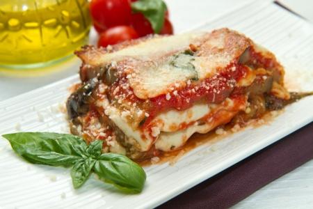 parmesan cheese: parmigiana eggplant with fresh ingredient  Stock Photo