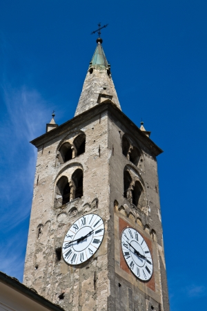 clocktower: cathedral of Aosta Stock Photo