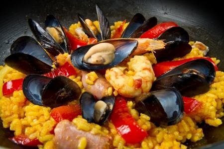 kitchen spanish:   Seafood Spanish Paella, traditional recipe