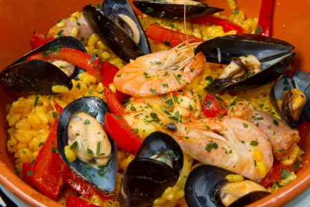 spanish food:   Seafood Spanish Paella, traditional recipe