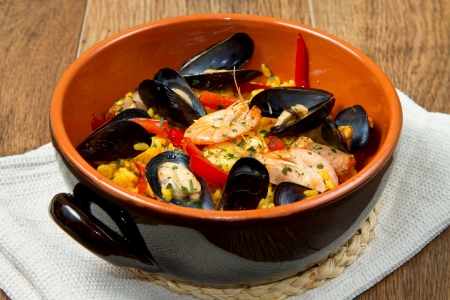 majorca:   Seafood Spanish Paella, traditional recipe