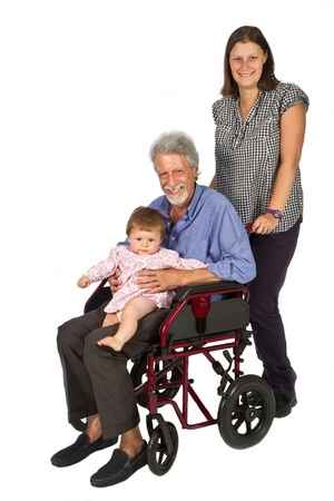 grand kids: children with handicap Grandfather in wheelchair