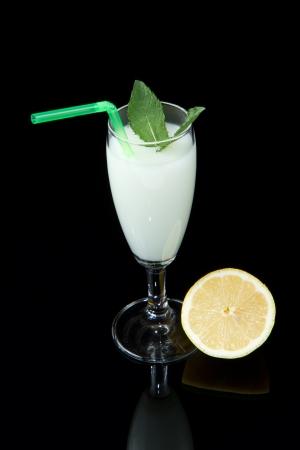 lemon sorbet on black background photo