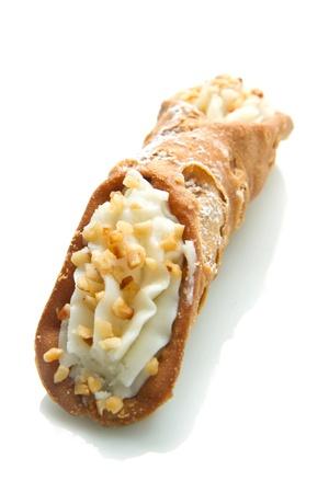 sicilian: Sicilian cannoli with almond Stock Photo