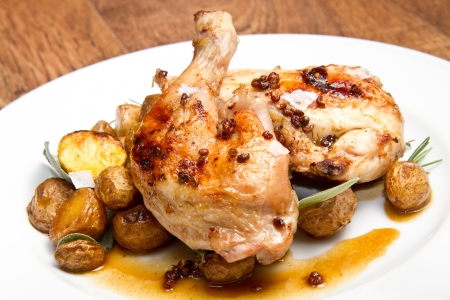 fine legs: roast chicken with potatoes