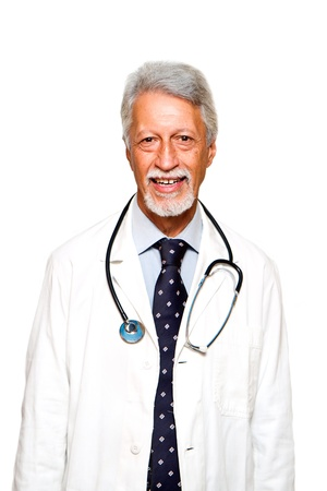 Portrait of happy senior doctor isolated on white background  photo