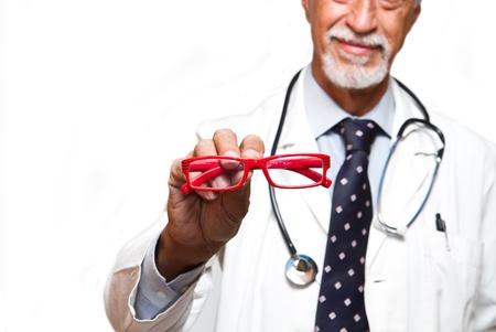 ophthalmologist: senior ophthalmologist on white background