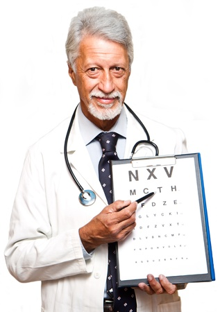 ophthalmologist: senior doctor on white background