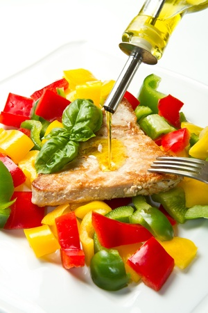 fried tuna fillet with pepper photo