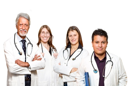 medical professionals standing isolated