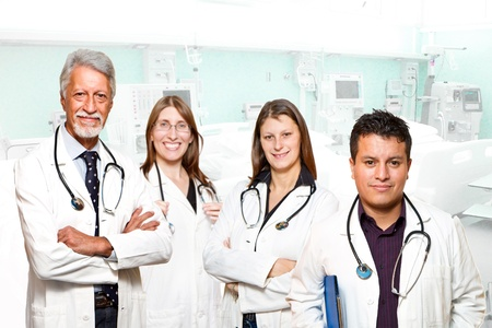 medical professionals standing isolated photo