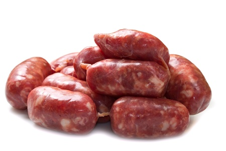 veal sausage: isolated raw sausages Stock Photo