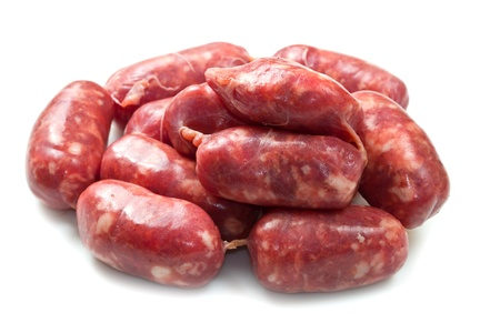isolated raw sausages Stock Photo - 16032291