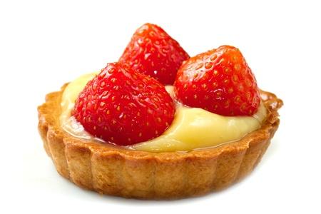 postres: Fruta fresca tarta en el fondo blanco