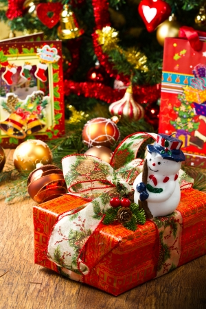 Christmas Tree and Christmas gift boxes photo