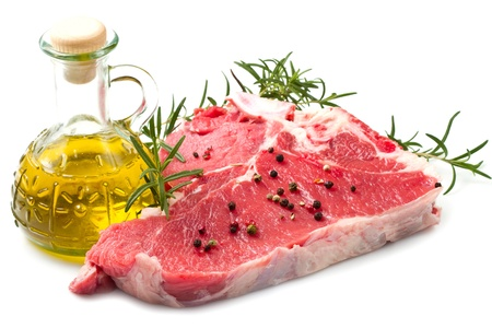 florentine: raw T-bone with rosemary on white background