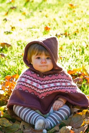 baby with autumn leaf Stock Photo - 16216457